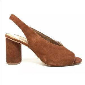 Madewell Alana Suede Open Toe Slingback Heels